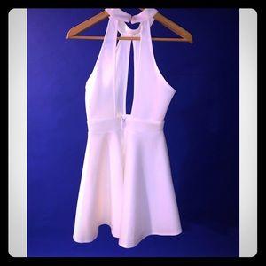 White Keyhole Party Dress